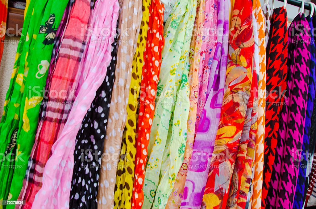 Colorful Pashmina for sale. stock photo