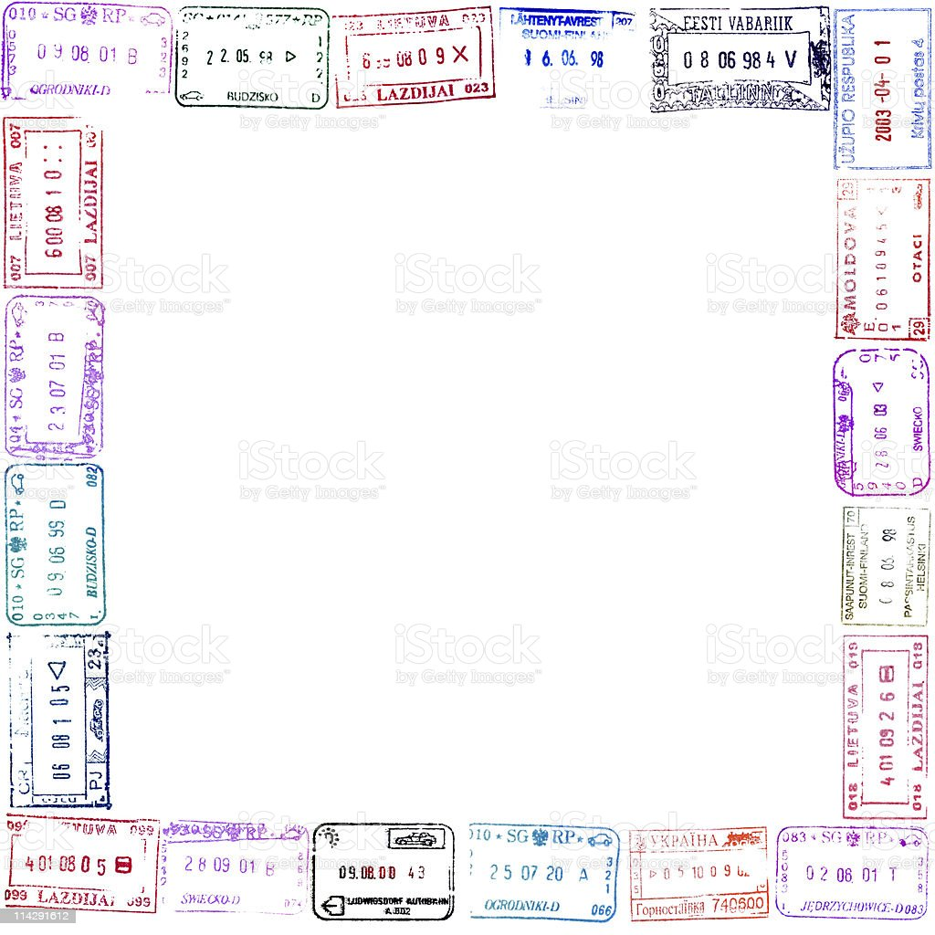 Colorful passport stamps frame for your design stock photo