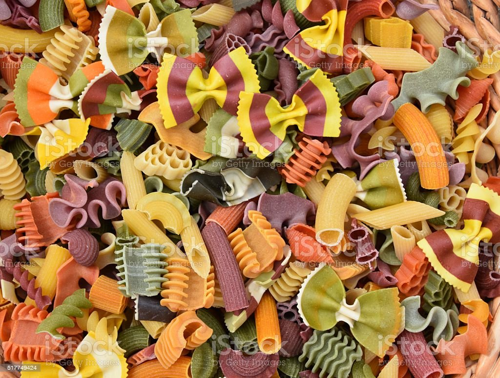 colorful pasta Background stock photo