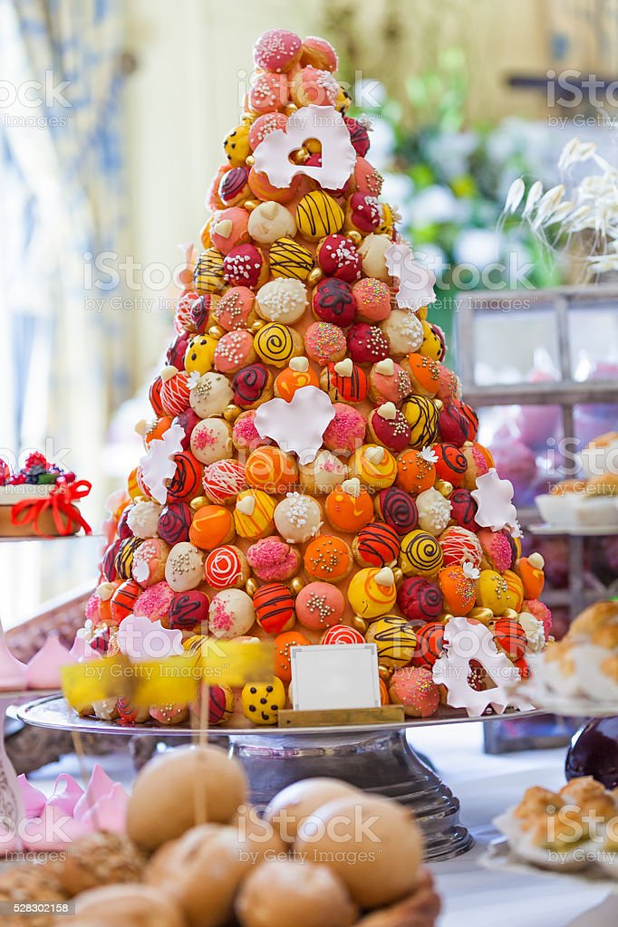 Colorful pastry tree stock photo