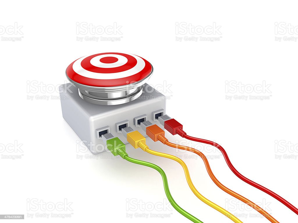 Colorful patchcords connected to big button. royalty-free stock photo