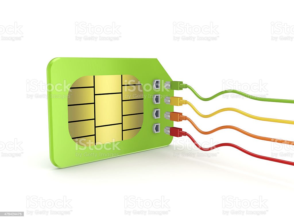 Colorful patchcords connected to SIM card. stock photo