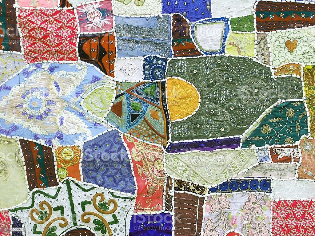 Colorful patchwork  handmade in Rajasthan India royalty-free stock photo
