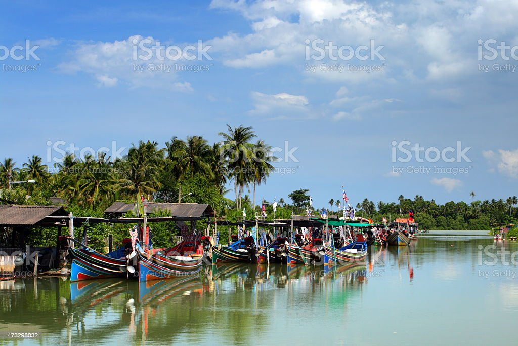 Colorful pattern of traditional fisherman boats in Kelantan, Malaysia. stock photo