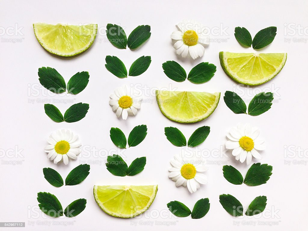 Colorful pattern with fresh citrus fruits, leaves and flowers stock photo