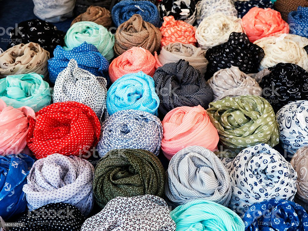 Colorful patterned scarfs. Color Image stock photo