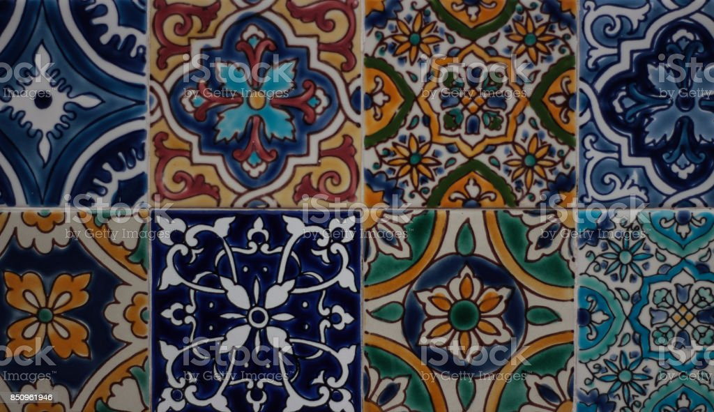 Colorful patterned tiles stock photo