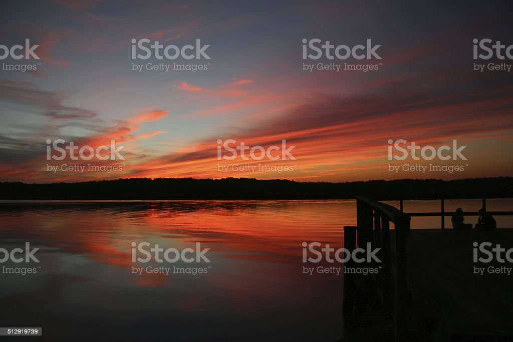 Colorful Patuxent River Sunset stock photo