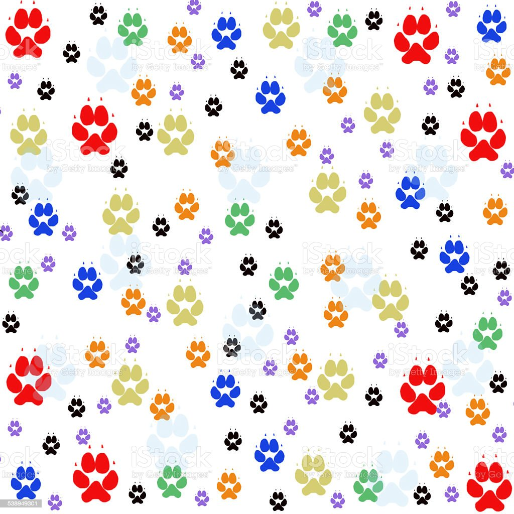 Colorful pawprints stock photo