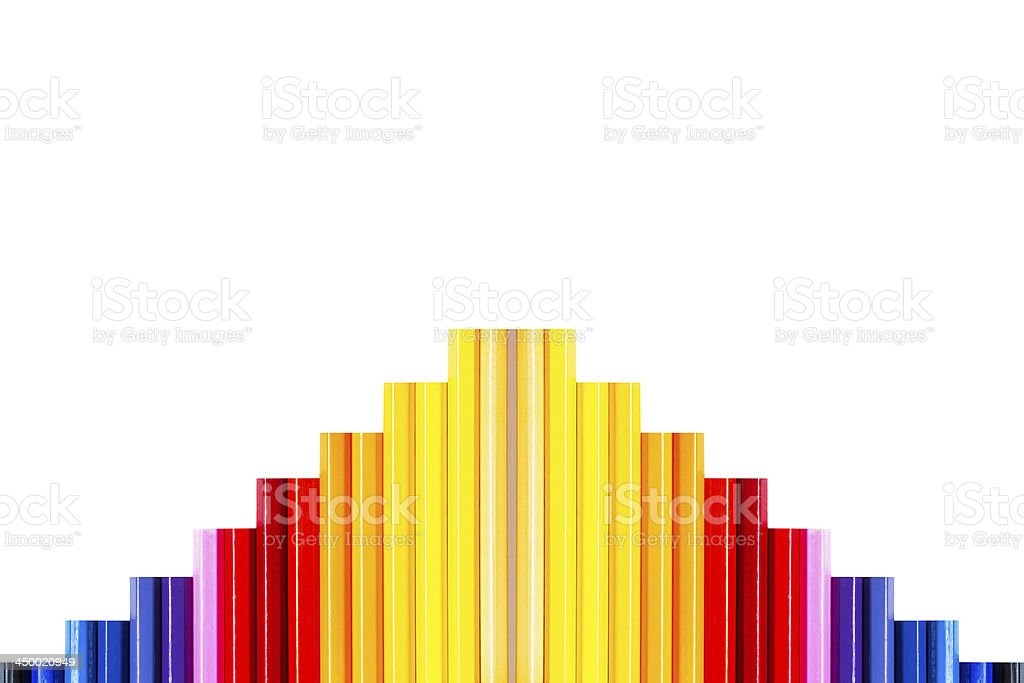 Colorful pencil isolated on white,Growth concept royalty-free stock photo