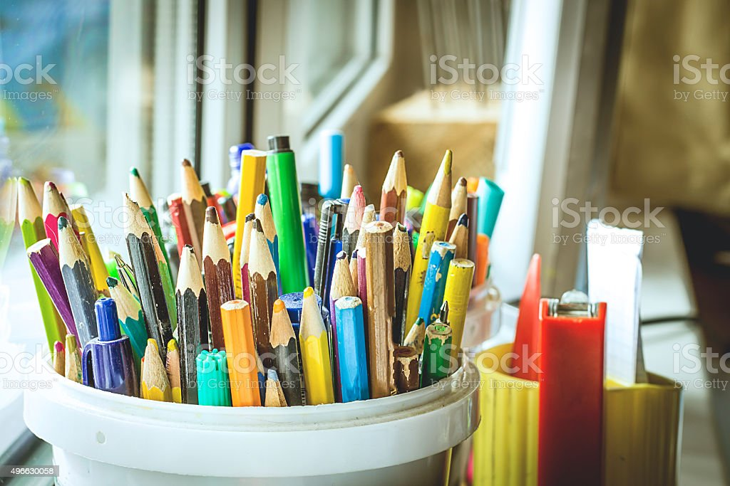 Colorful pencils and felt-tip pens stock photo