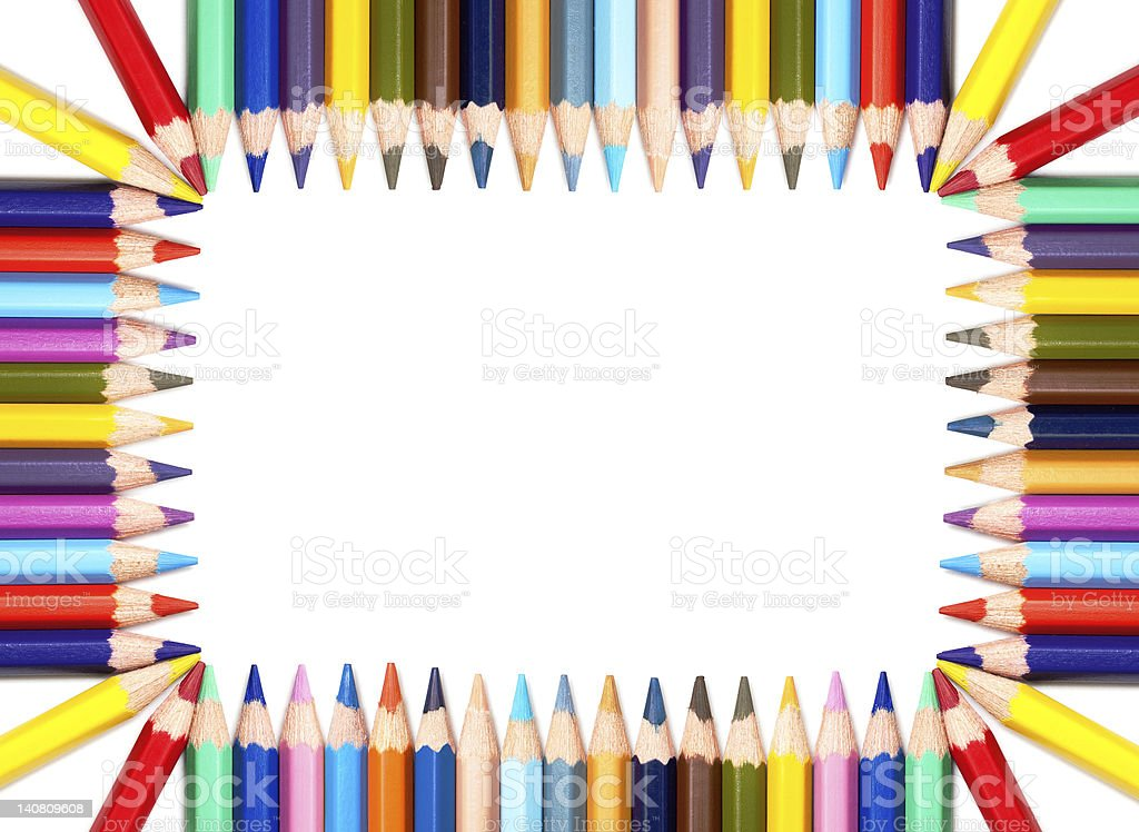 Colorful pencils frame royalty-free stock photo