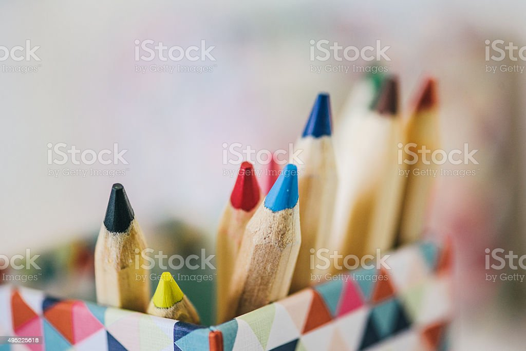 Colorful pencils in modern box stock photo