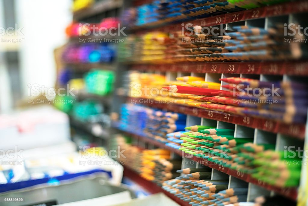 colorful pencils in shelf stock photo