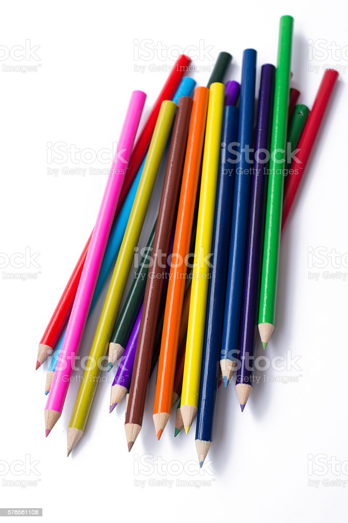 Colorful pencils, isolated on white stock photo