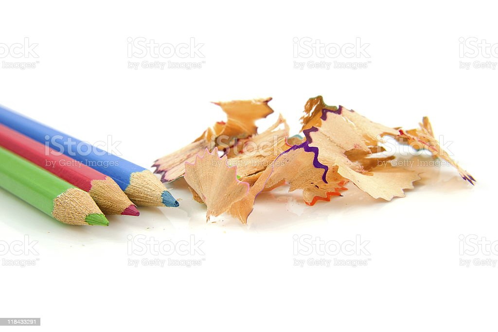 colorful pencils with shavings stock photo