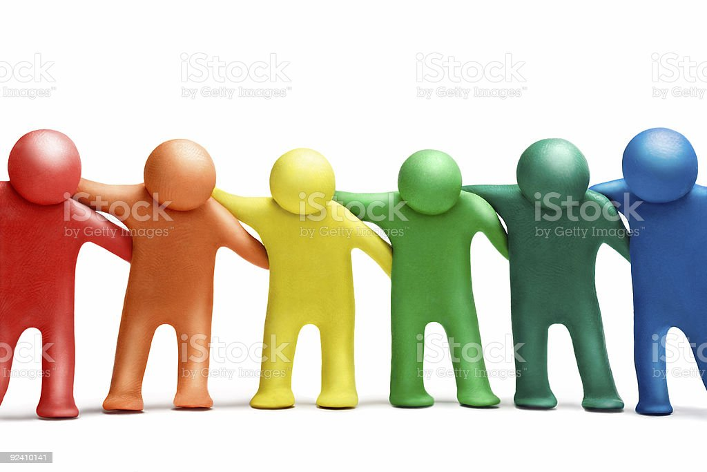 Colorful people uniting together stock photo