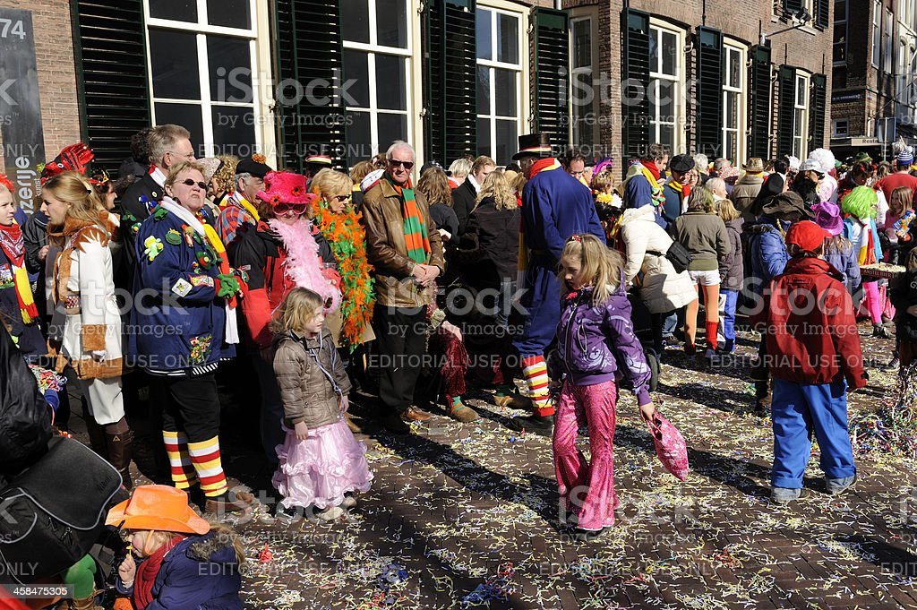Colorful people watching the annual carnival parade in 's Hertogenbosch royalty-free stock photo