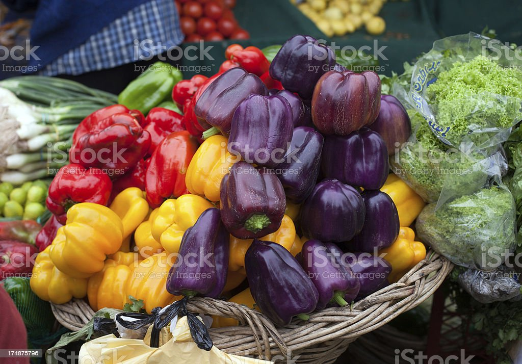 Colorful Peppers in Farmers Market royalty-free stock photo