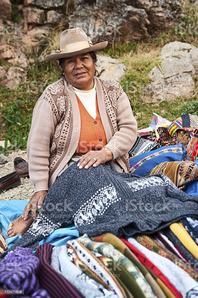 Colorful Peruvian fabrics and clothes for sale, Sacred Valley. royalty-free stock photo