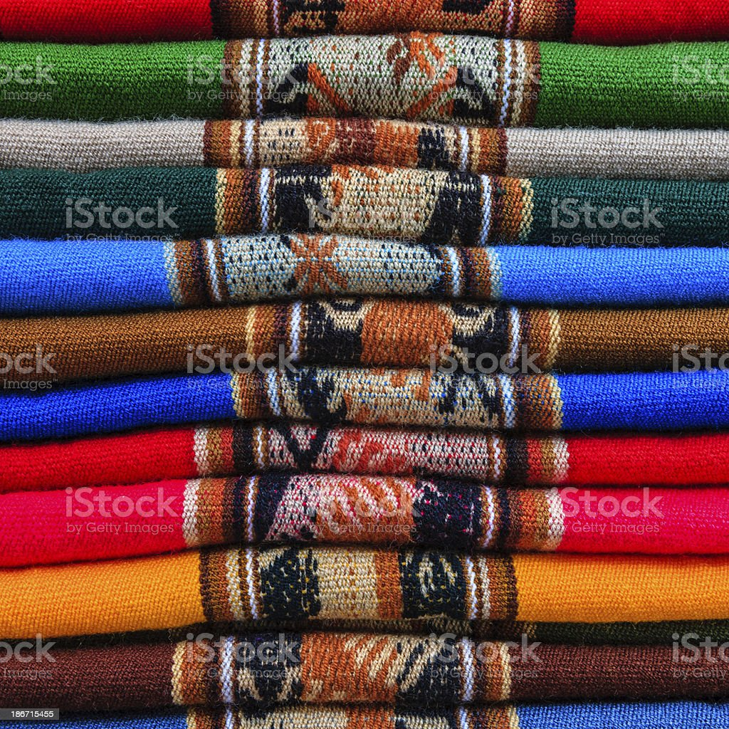 Colorful Peruvian fabrics for sale, Cuzco market, Peru royalty-free stock photo