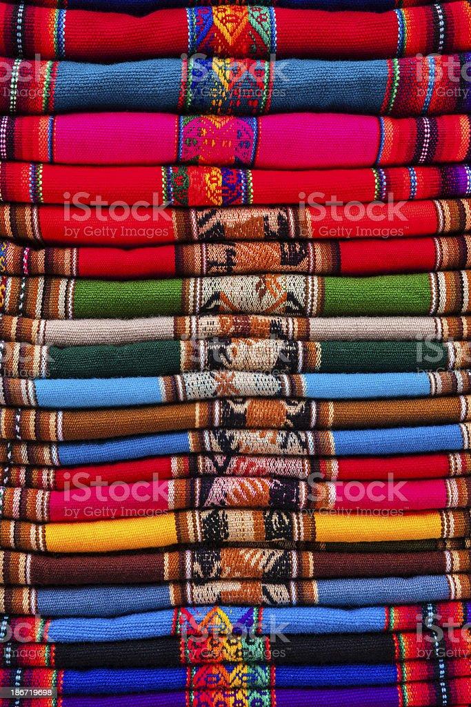 Colorful Peruvian fabrics for sale, Cuzco market, Peru royalty-free stock photo