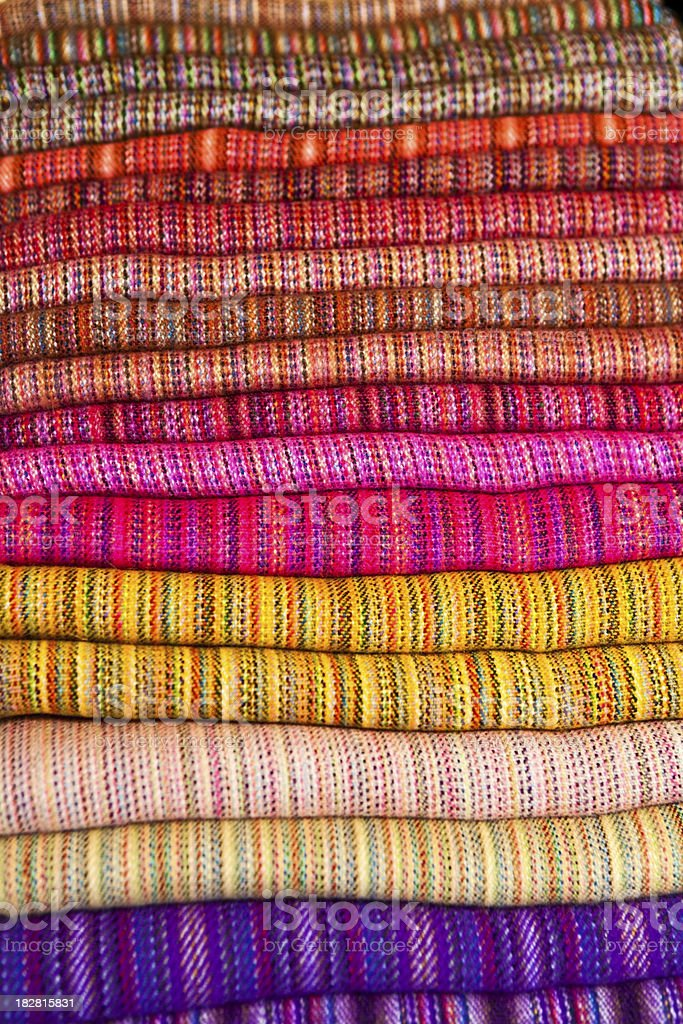 Colorful Peruvian fabrics for sale royalty-free stock photo
