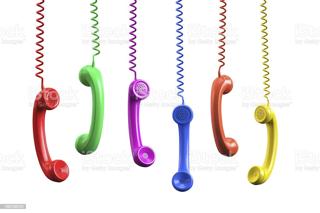 Colorful Phone Receivers stock photo