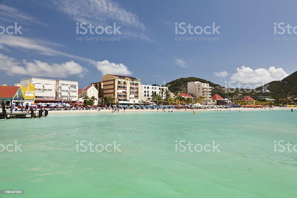 Colorful photo of shoreline in Philipsburg, St Maarten stock photo