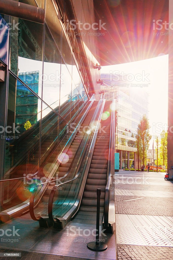 colorful picture of an escalator in Berlin stock photo
