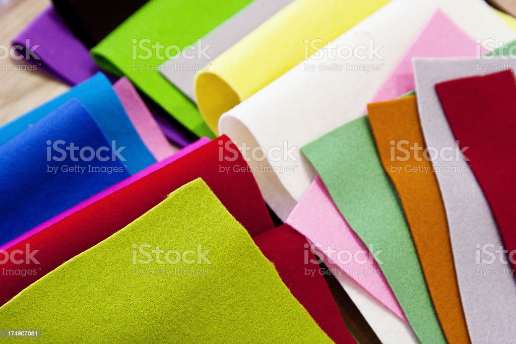 Colorful pieces of felt stock photo