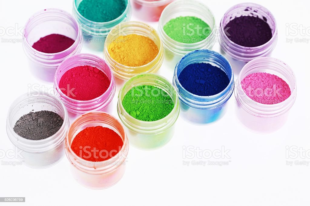 Colorful pigments powders. Education, arts, creative, back to school background stock photo