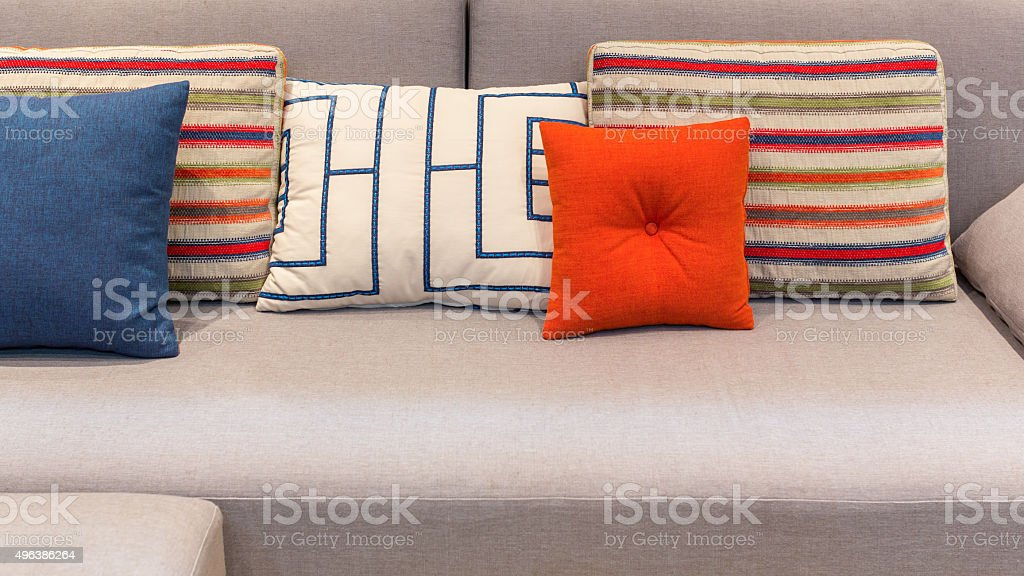 Colorful pillows and cushion stock photo