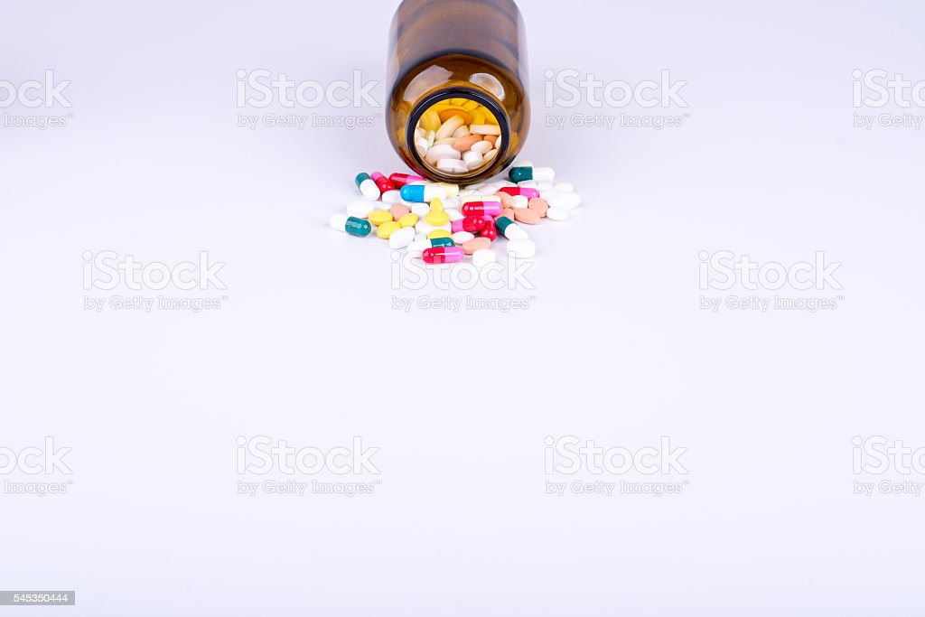 Colorful pills and tablets. stock photo