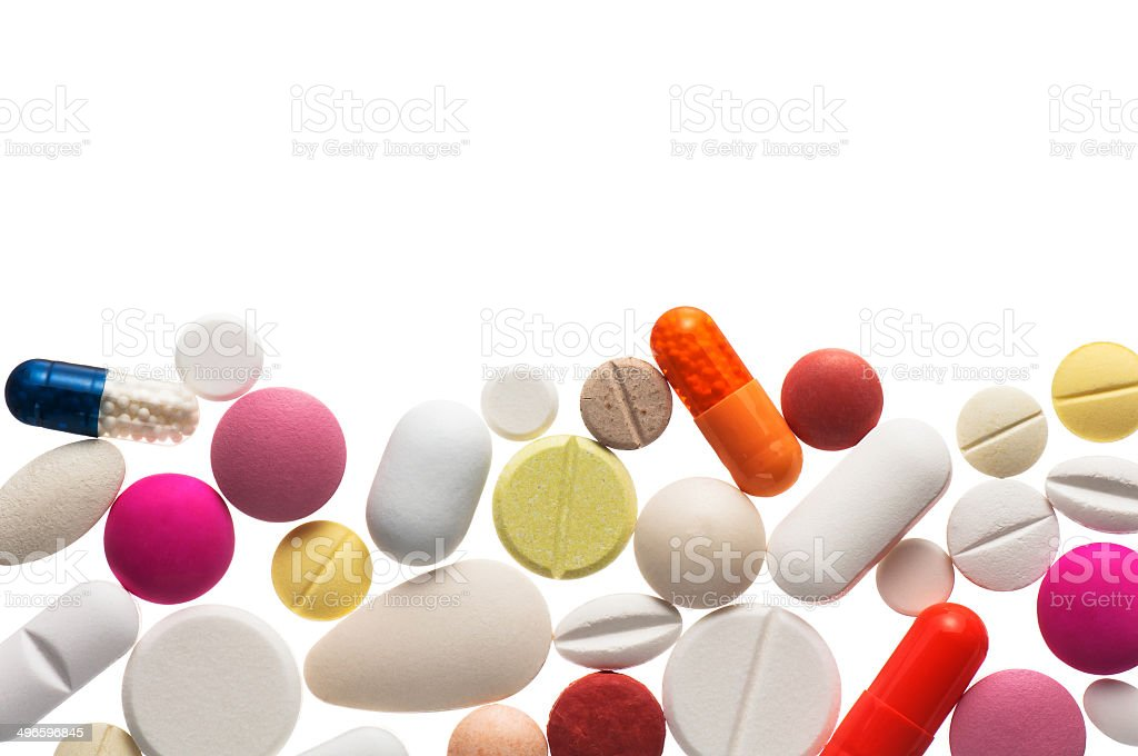 Colorful pills , isolated stock photo