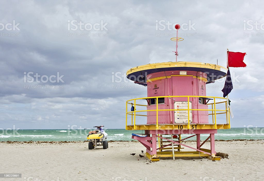 Colorful pink lifeguard house in Miami Beach royalty-free stock photo