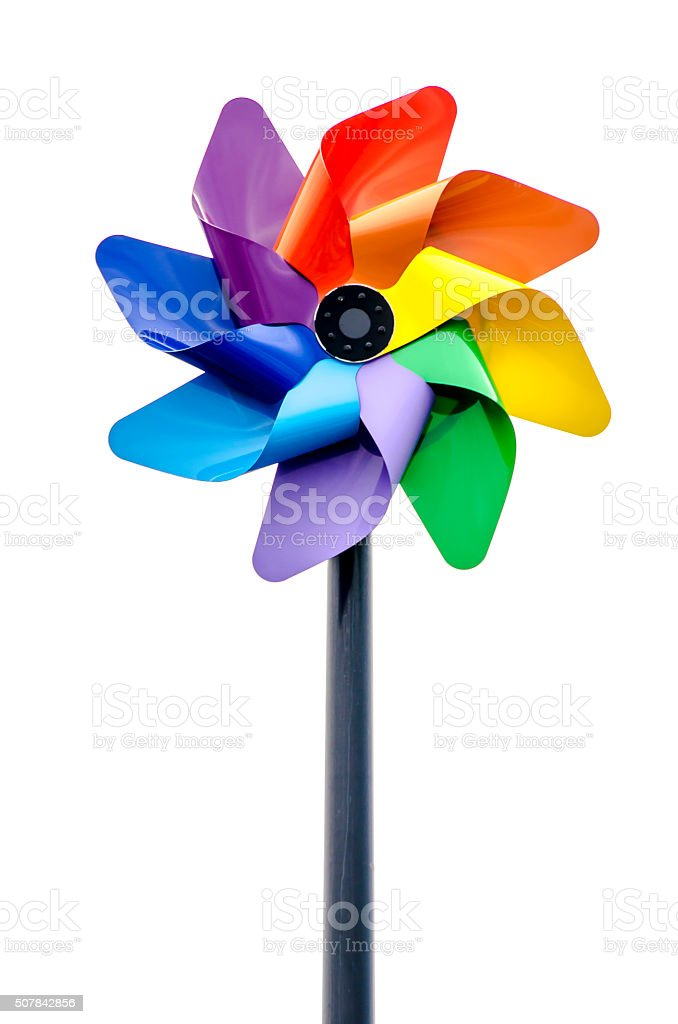 Colorful pinwheel over white background stock photo