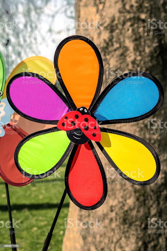 Colorful pinwheel toy stock photo