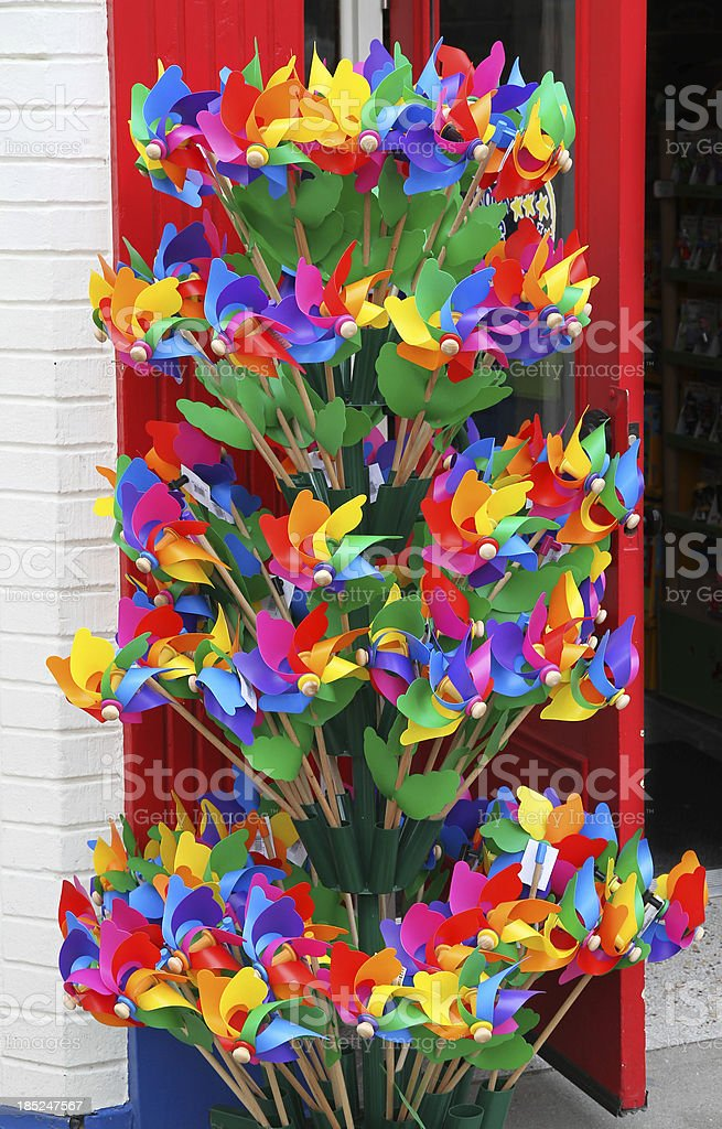Colorful Pinwheel Windmills For Sale stock photo