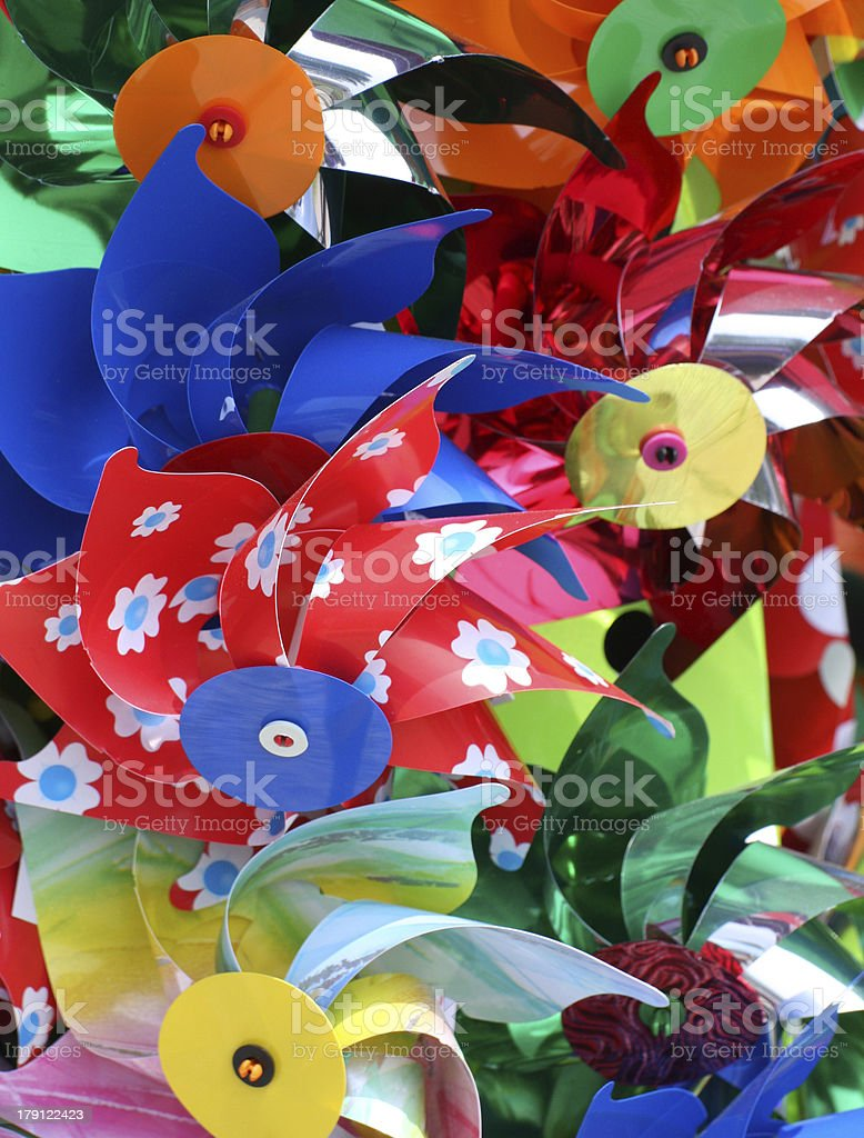 colorful pinwheels for sale in toy store royalty-free stock photo