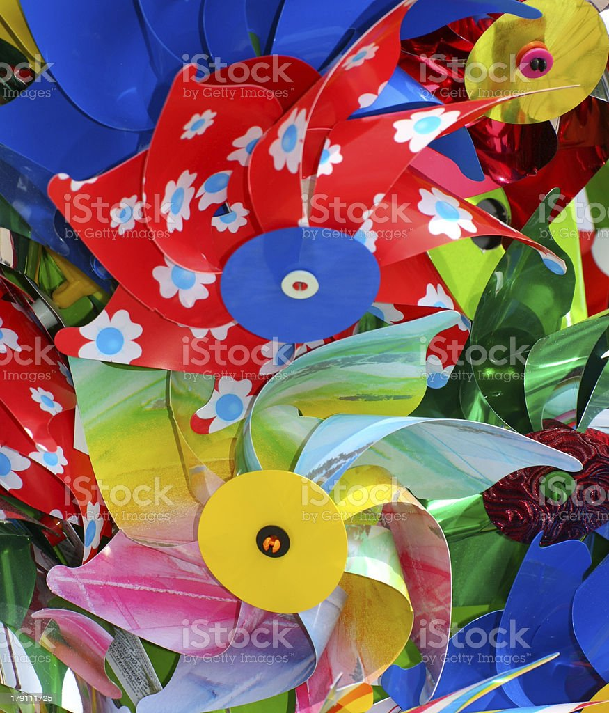 colorful pinwheels in plastic royalty-free stock photo