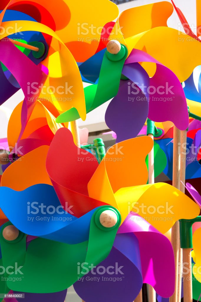Colorful pinwheels stock photo