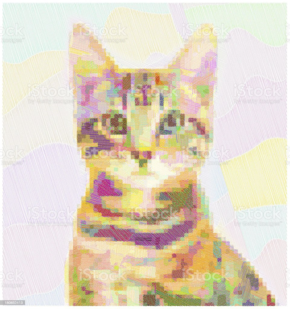 colorful pixelated cat royalty-free stock photo