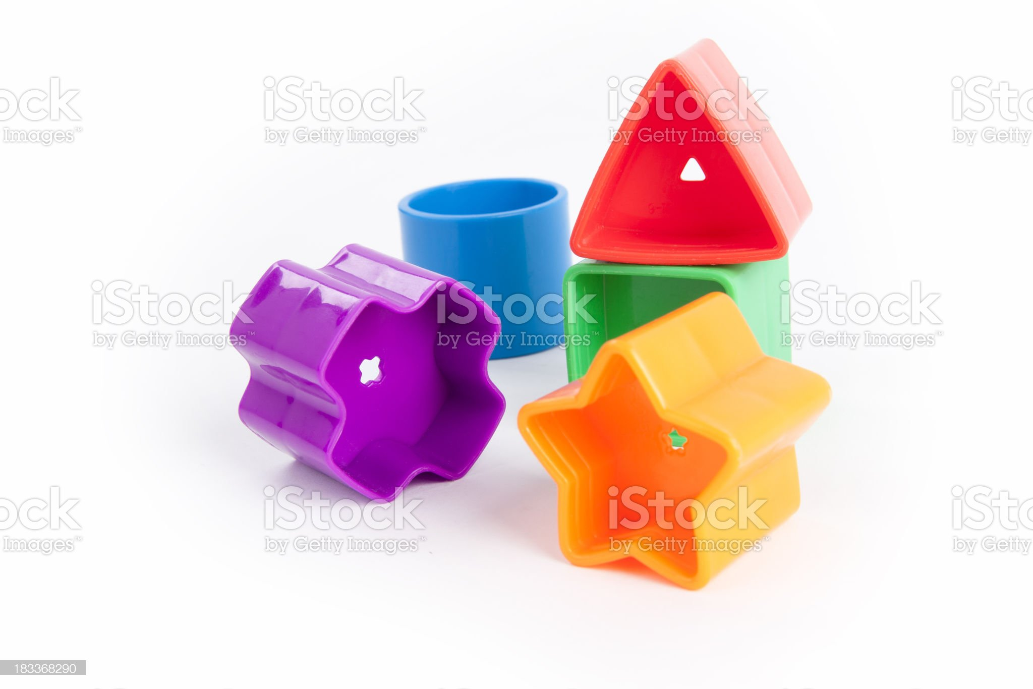 Colorful plastic baby blocks on white royalty-free stock photo