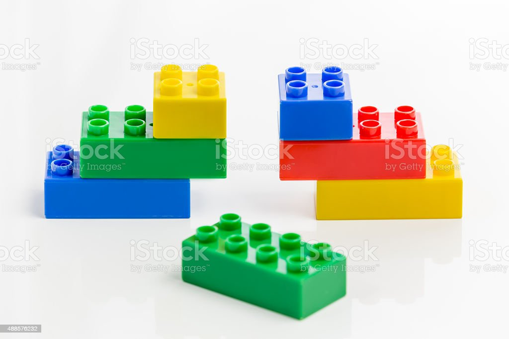 Colorful plastic bricks, missing link stock photo