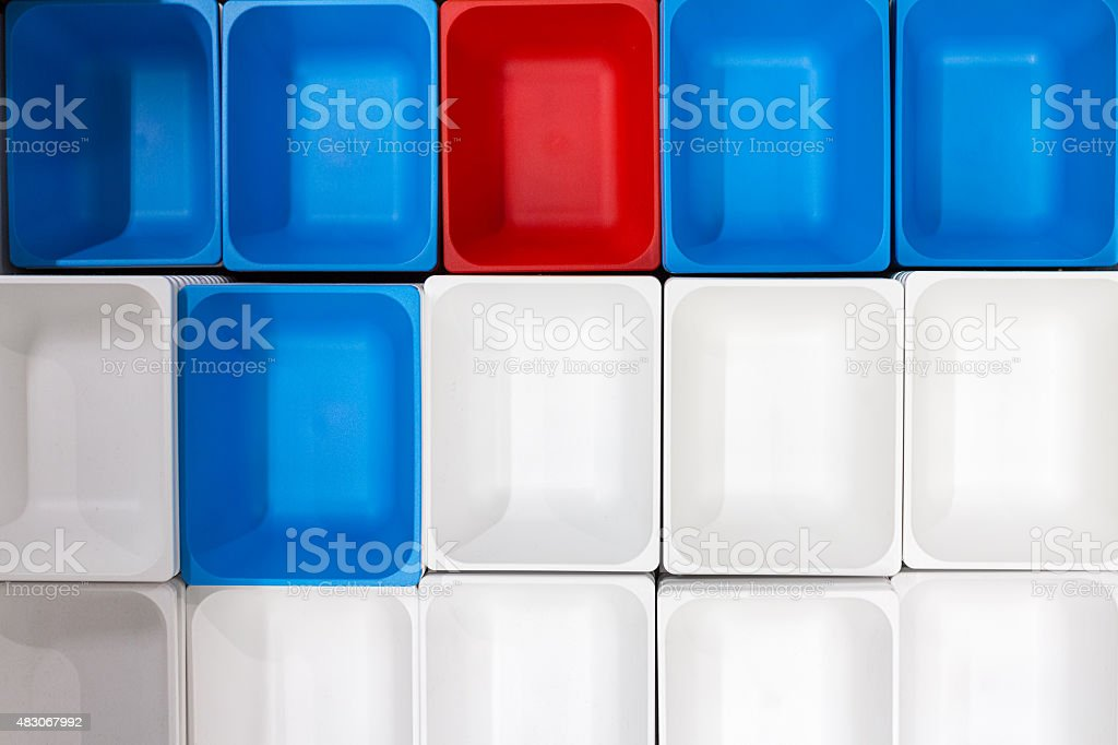 Colorful plastic containers stock photo