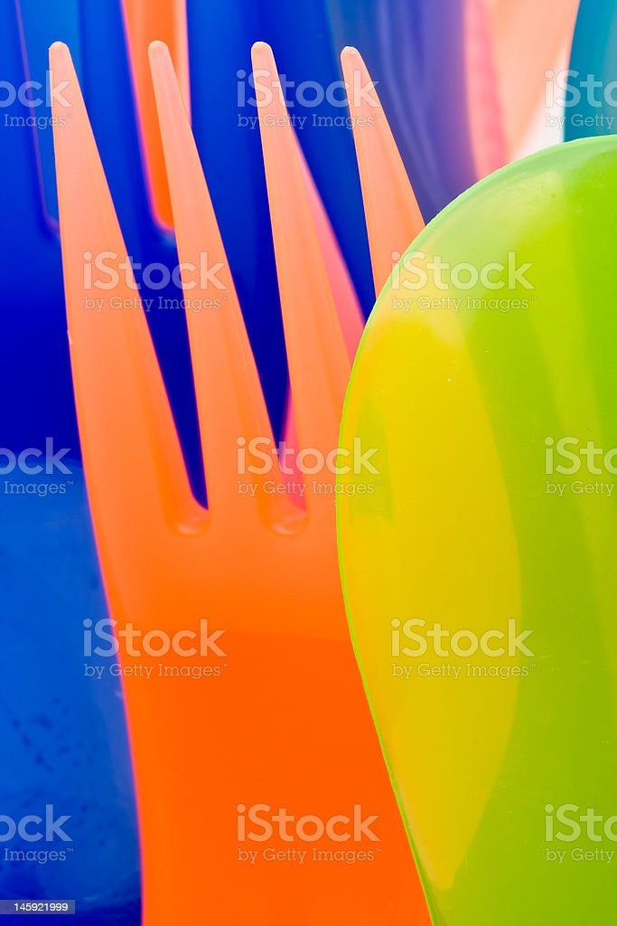Colorful Plastic Cutlery Abstract royalty-free stock photo