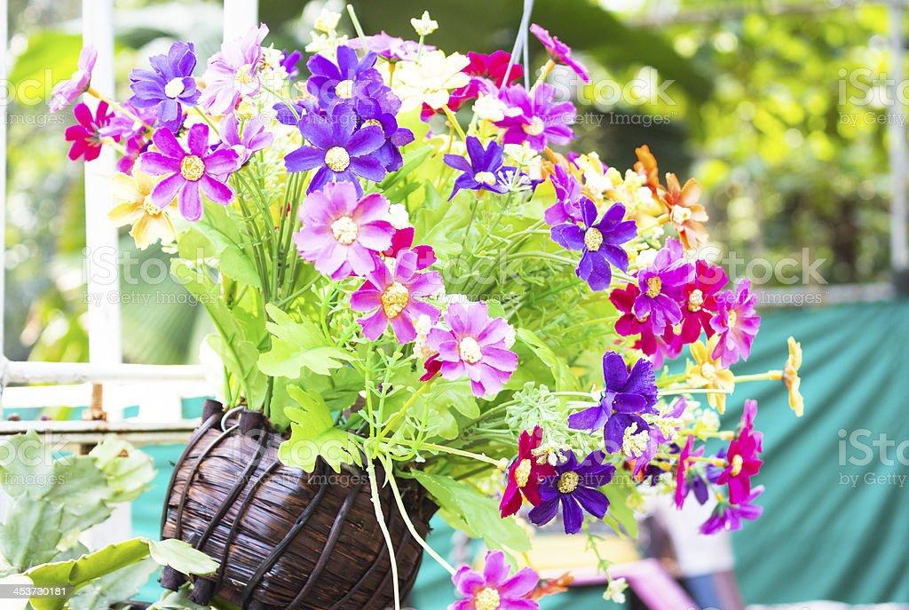Красочные пластиковые цветы в деревянной Ваза висит на дереве Стоковые фото Стоковая фотография