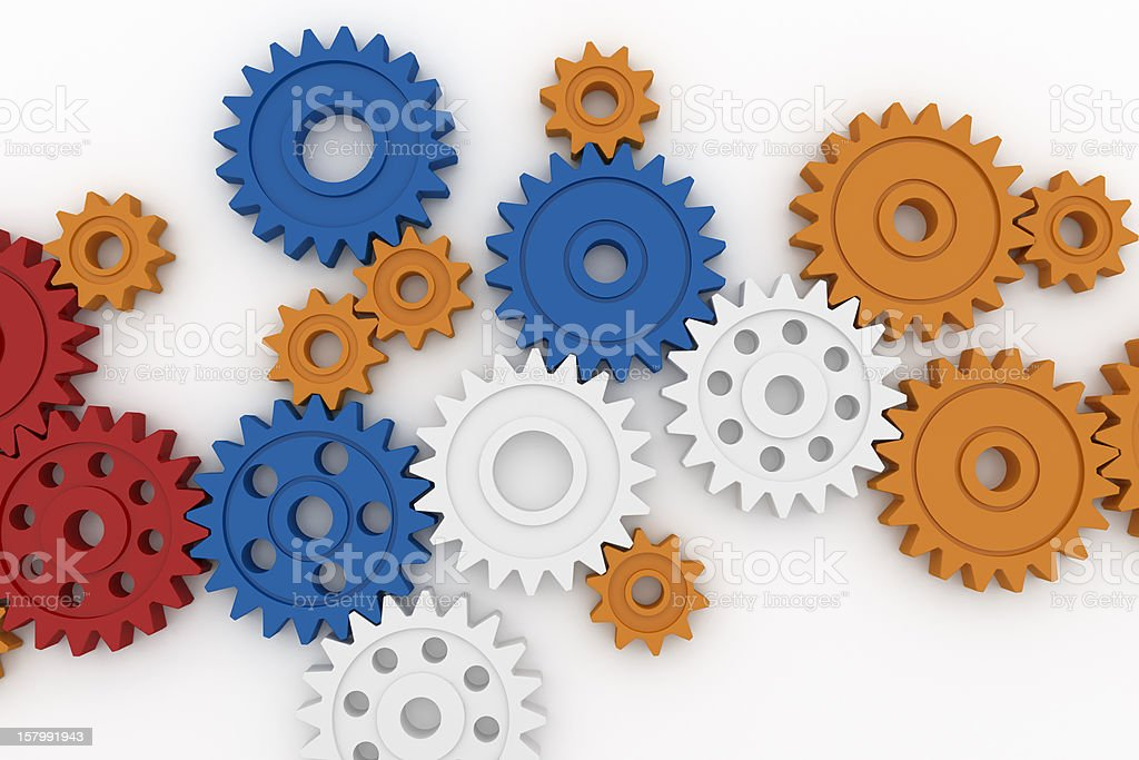Colorful plastic gears royalty-free stock photo