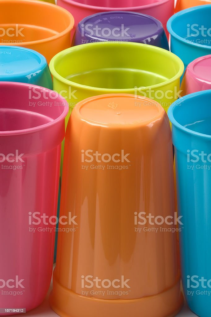 Colorful plastic glasses for your Bar-B-Que royalty-free stock photo